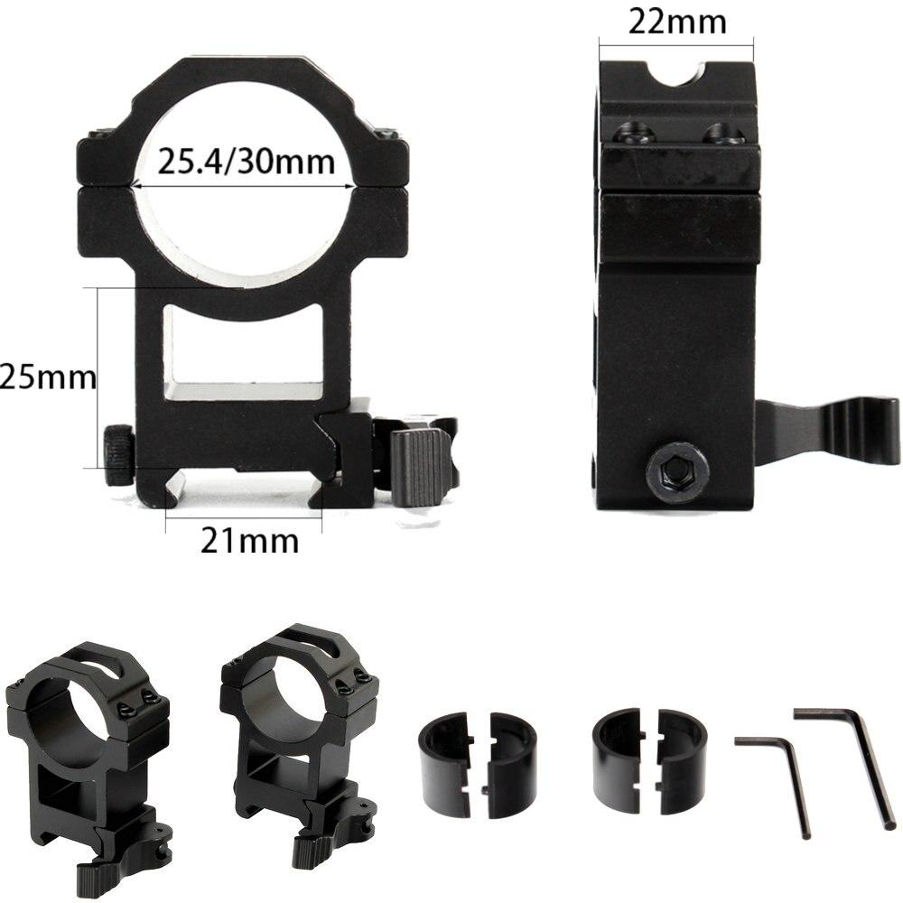 25.4mm Ring 21mm Picatinny Weaver Rail Low Profile QD Scope Mount For Riflescope