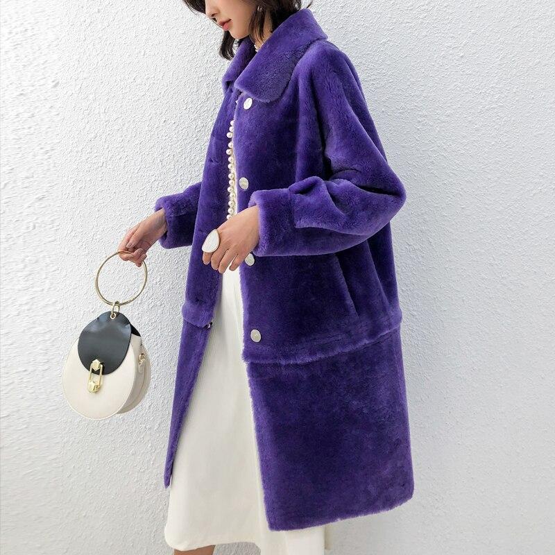 Réel Prussian Pièce Épais 2 Veste purple Manteau Cisaillement red green D'une Fourrure Mouton Chaud Femmes Npi yellow Véritable Cuir 81124b Seule way De Peau Porter Hiver Blue En aXnaWrTqwB