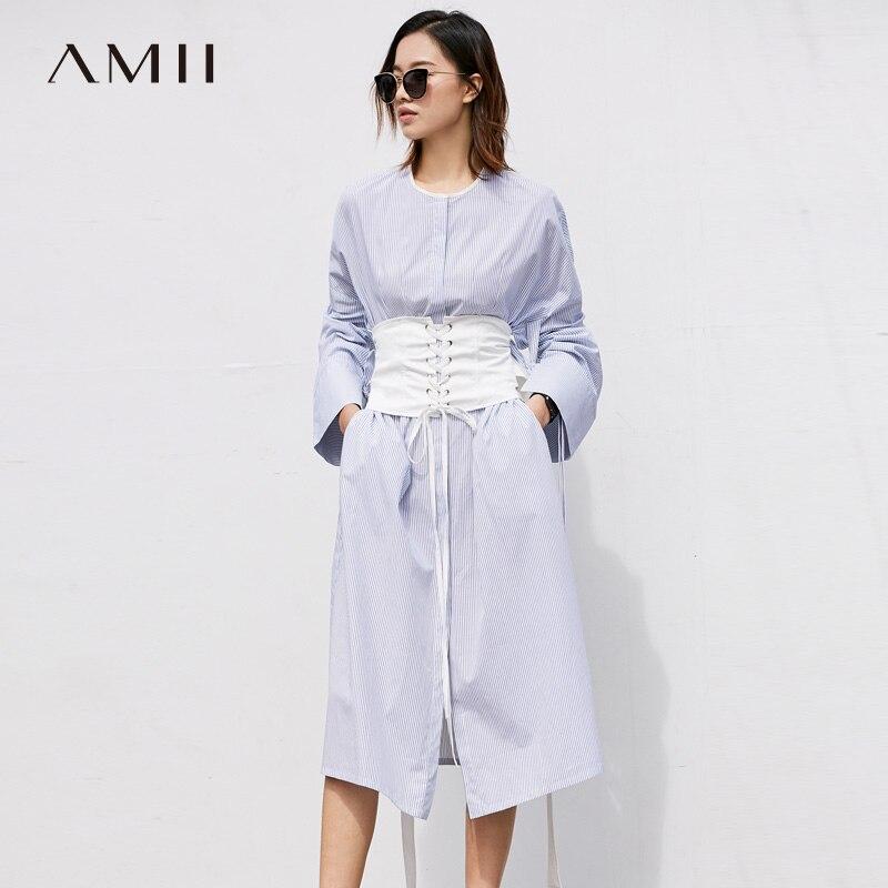 Amii Women Minimalist Dress 2018 Stripe Slits Flare Sleeve Mid Calf Female Dresses
