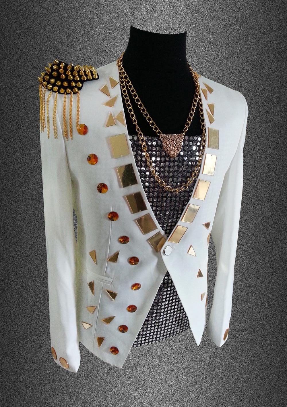 2017, Мужской Блейзер, пиджак, верхняя одежда, мужская одежда, белый, черный цвет, для певицы, танцовщицы, для выступлений, для жениха, вечерние, для шоу, на Рождество - 5