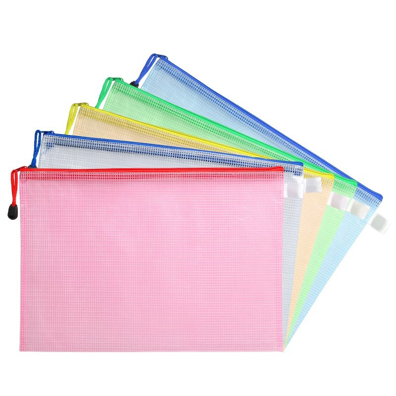 Transparent Mesh Zipper Bag PVC File Folder Waterproof Storage Bag Organizer Stationery Office School Supplies Random Color
