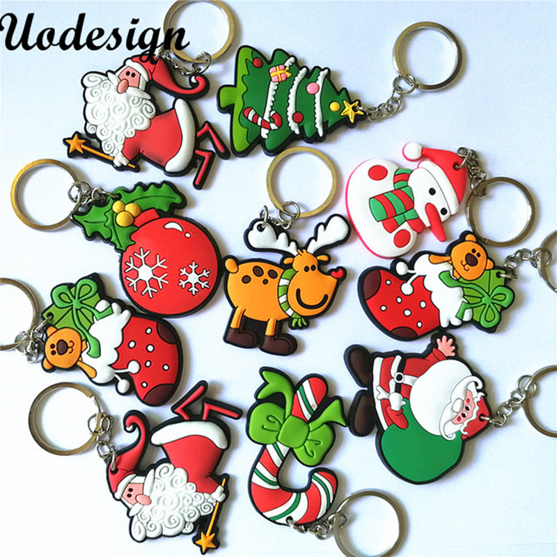 20pcs/lot New Hot Selling Silicone Santa Claus/Tree/Socks/Snowman Keychains Keyrings for Christmas Gifts