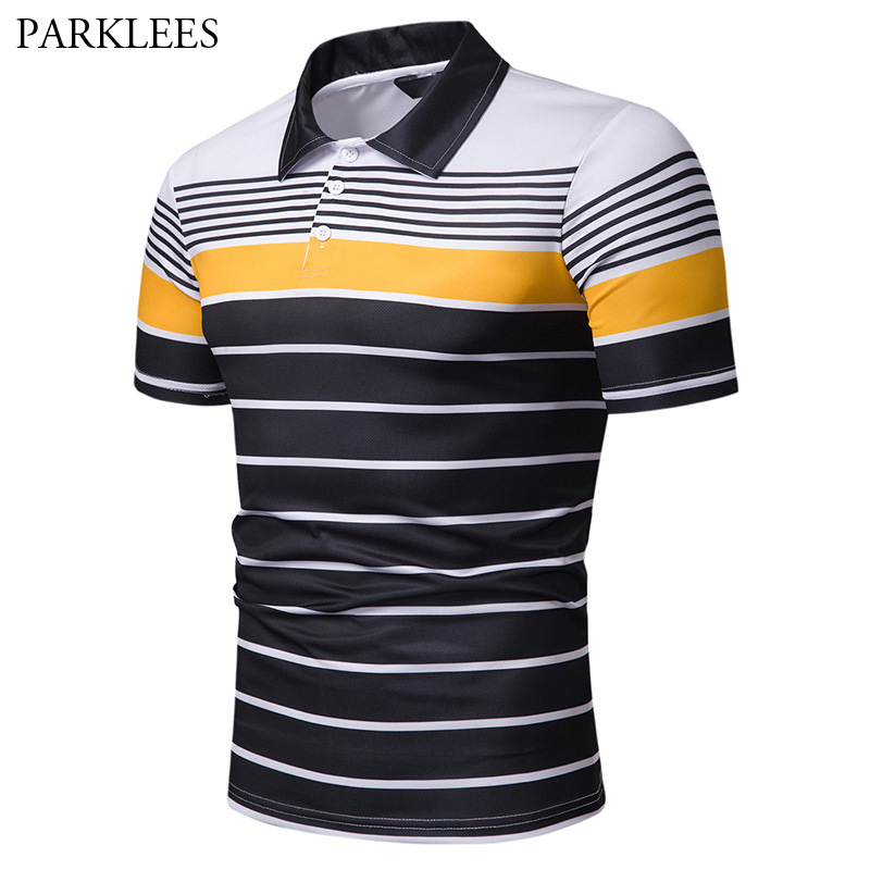 Men's Hipster Hit Color Striped   Polo   Shirts 2019 Summer New Short Sleeve   Polo   Shirt Men Slim Fit Casual   Polos   Para Hombre XXL