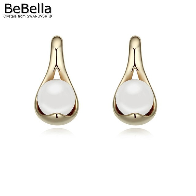 Us 6 14 10 Off Bebella 4 Colors Pearl Earrings Made With Austrian Crystals From Swarovski Crystal Pearls Gift For Friend Women In Stud
