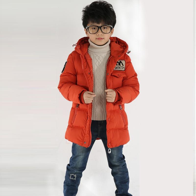 3ada46db8 2018 Boys Winter Jacket Kids Hooded Orange Zipper Coat Children ...