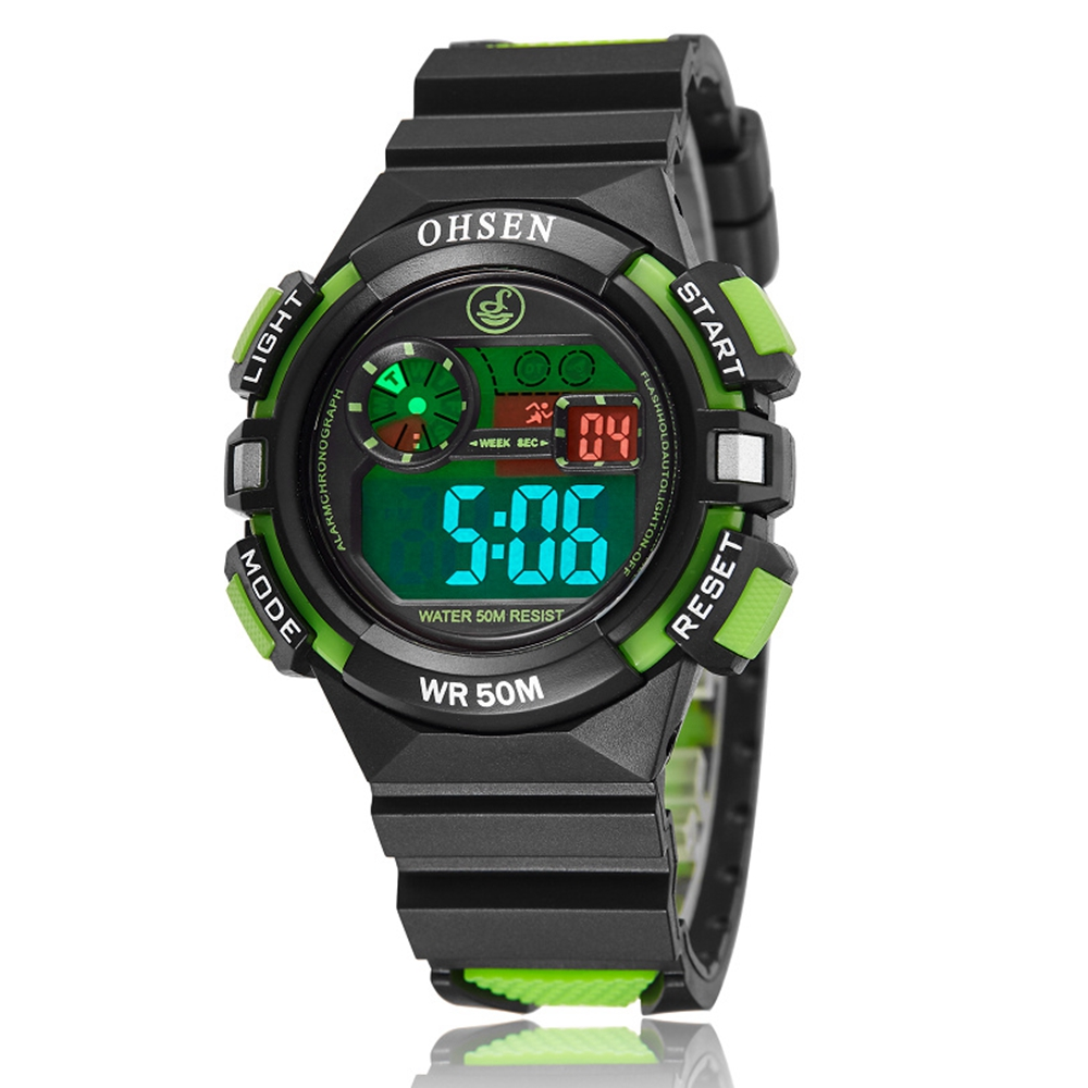 2016 OHSEN merkevare Fashion and Causal digital Kids Boys sport armbåndsur silikon LCD-klokke 30M vanntett alarm dato gave