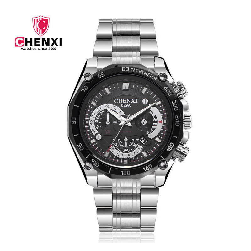 Brand CHENXI Men Watches Silver Stainless Steel Waterproof Black Case Quartz-Watch for Man Sport Outdoor Clock Army Military stainless steel cuticle removal shovel tool silver