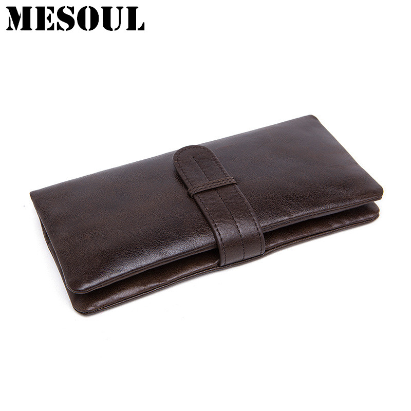 Men Leather Wallet Coin Purses Holders Male Wallet Cow Leather Business Men Long Wallets Fashion Densign