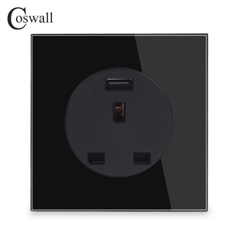 Coswall Black Crystal Glass Panel 13A UK Standard Wall Power Socket Outlet Grounded With USB Charging Port 2A Output R11 Series uk socket wallpad crystal glass panel 110v 250v switched 13a uk british standard electrical wall socket power outlet uk with led