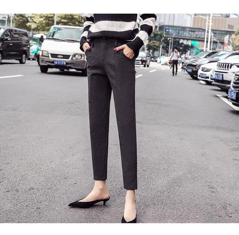 S-3XL Plus Size Women Pants Autumn Winter Vintage Elegant Plaid Office Ladies Casual Loose Harem Pants Ankle Length Trousers 3