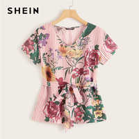 SHEIN Multicolor Floral and Striped Belted Top 2019 Short Sleeve V Neck Summer Blouse Women Workwear Casual Tops and Blouses
