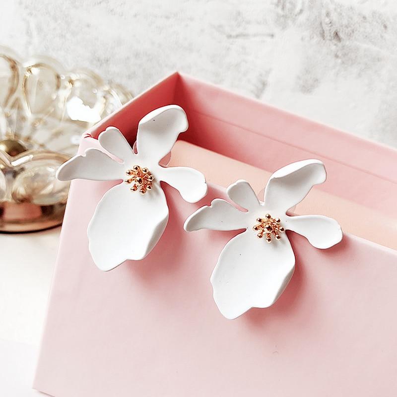New Fashion Korean Style White Green Pink Big Flower Stud Earrings For Women Summer Elegant  Boucle D'oreille Brinco Jewelry