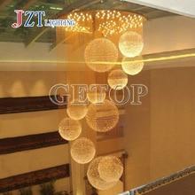 T Luxury Crystal Indoor Lamp Simple Creative Modern pendant light for Penthouse Floor Hall Stair Circular Shape With LED Bulbs