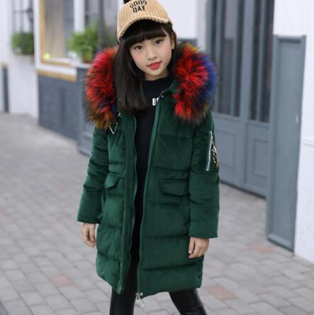 2018 Girls Parkas Wadded Jacket Winter Coat Fashion Children Big Fur Collar Thick Cotton Jacket For Teenage 4-14Y Wear Parka 50pcs bp3102 sop8 ic