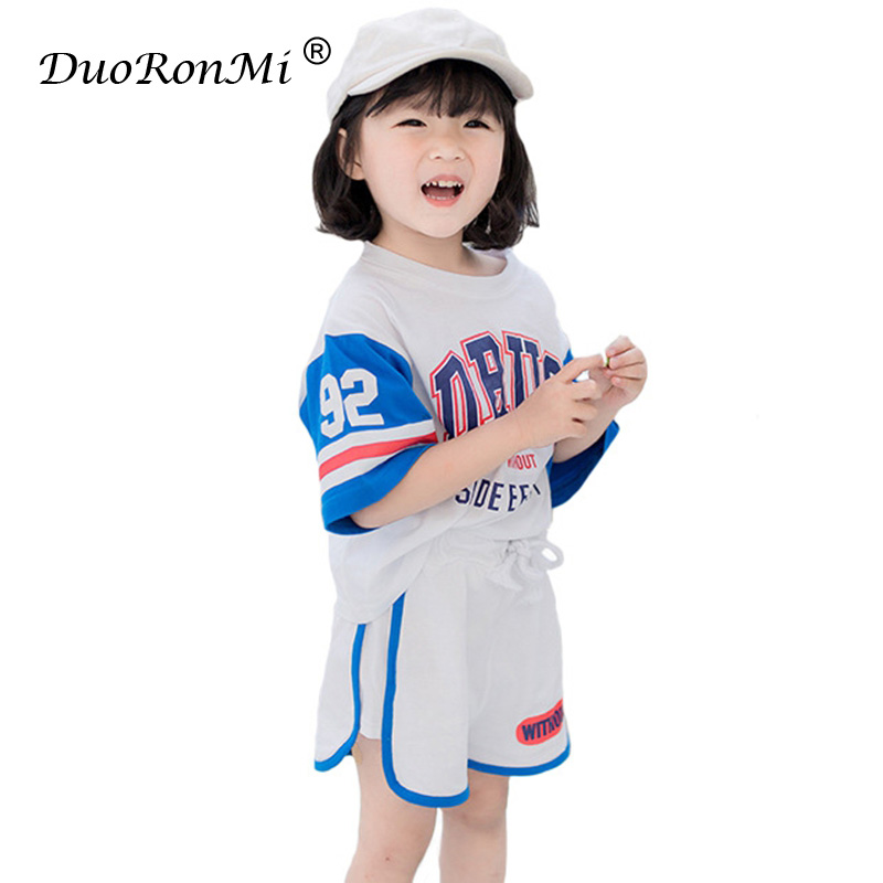 Summer Baby Girls Clothes Set Sports T-shirts + Shorts 2pcs Infant Girls Outwear Suit Toddler Girls Clothing Sets