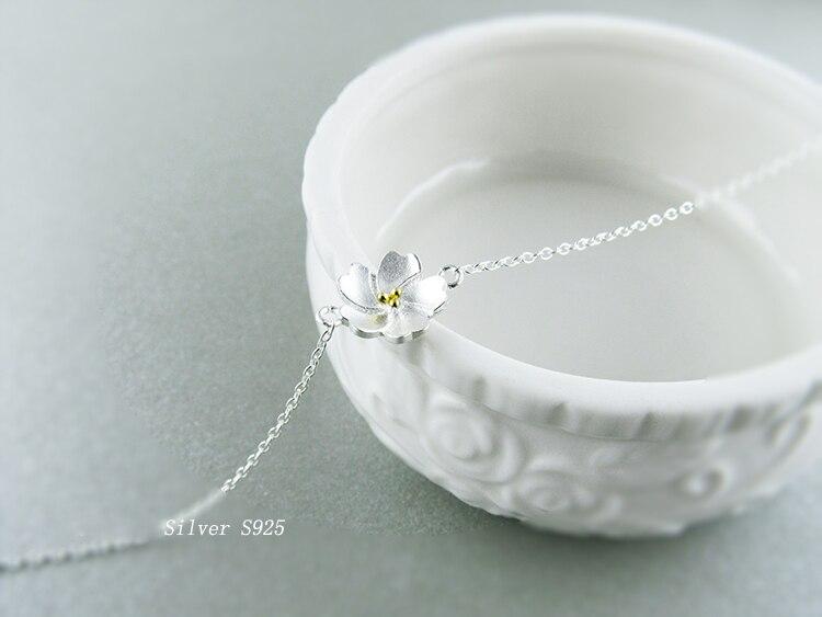AKOLION Silver Cherry Blossoms Bracelets Charm Flower Bracelets 925 Sterling Jewelry For Girl Women 7