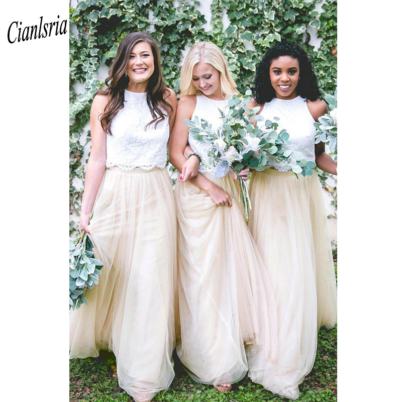 Two Pieces O-Neck Long   Bridesmaid     Dresses   Sleeveless Lace Tulle Wedding Guest   Dress   For Wedding Party robe demoiselle