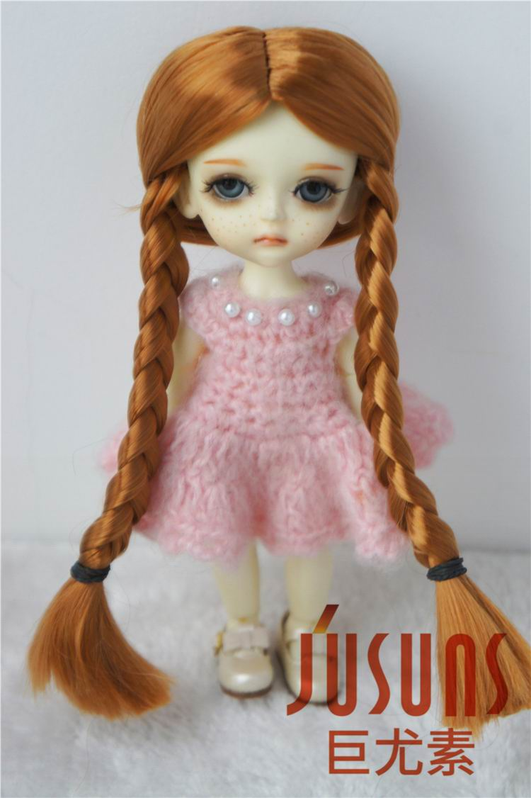 JD103 1/12 1/8 Lovely BJD synthetic mohair doll wigs 3-4 inch 4-5 inch 5-6inch Lati doll two Braids wig 1 3 1 4 bjd wigs hot sell bjd sd short curly wig for diy dollfie mohair like