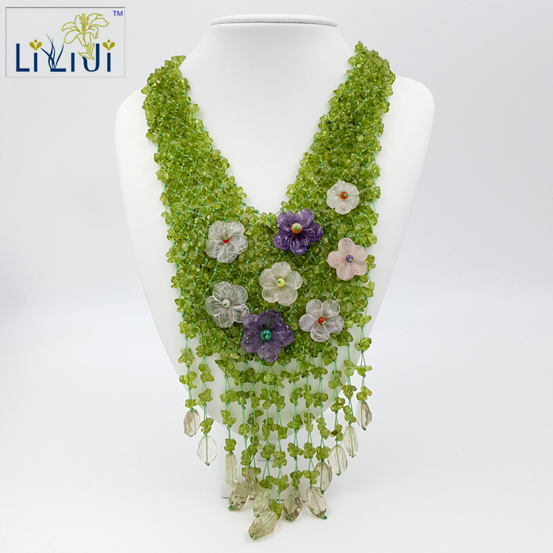 Lii Ji Peridot,Amethyst ,Quartz Flowers with Jade Toggle Clasp Handmade Knitting Necklace