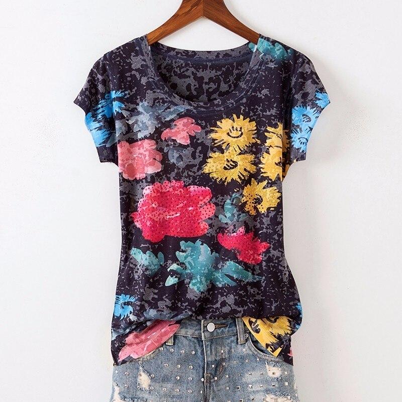 Noir chaud forage floral imprimé t-shirt femmes 2019 5XL 4XL à manches courtes o-cou graphique t-shirts mince haut d'été drôle t-shirts haut
