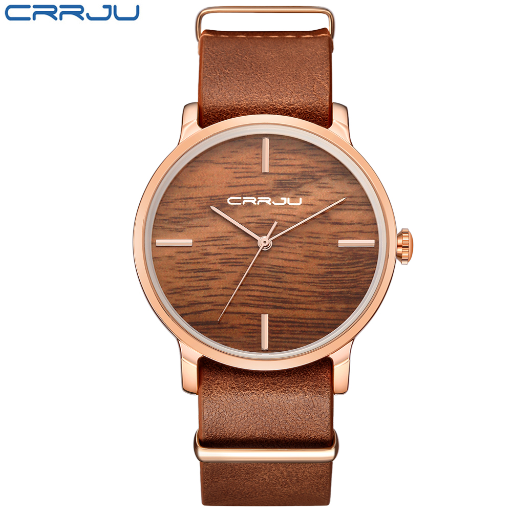 CRRJU 2018 New Wooden Relojes Quartz Men Watches Casual Wooden Color Leather Strap Watch Wood Male Wristwatch Relogio Masculino