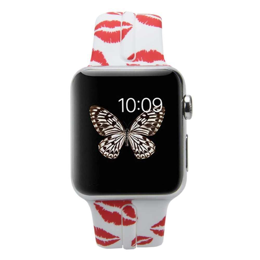Bemorcabo silicone macio impresso flor pulseiras de relógio para apple watch 4 3 2 1 aple pulseira 38mm 42mm 44mm pulseira