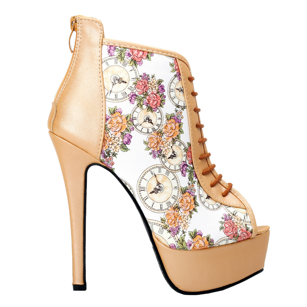 ФОТО LF80840 Glam Beige Open Toe Floral Clock Stiletto Ankle Bootie Pump Size 4/5/6/7/8/9/10