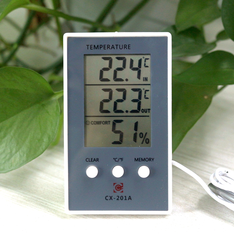Digital Thermometer Hygrometer Indoor Outdoor Temperature Humidity Meter C/F LCD Display Sensor Probe Weather Station digital indoor air quality carbon dioxide meter temperature rh humidity twa stel display 99 points made in taiwan co2 monitor