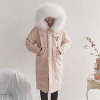 アライグマの毛皮の女性のジャケットダウン冬のファッションマントコートレディースフグ岬レディースロングアヒル女性ピンクガールコートとジャケット