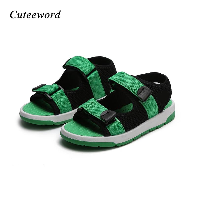 2018 Summer sandals boys black school shoes childrens non-slip breathable beach shoes mesh open-toed girls boys sport sandals