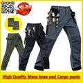 Alta Qualidade Durável multi-bolsos calça calça de carga de trabalho com joelheiras frete grátis