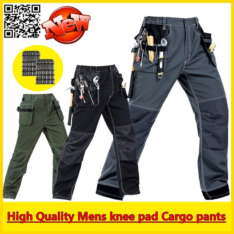 Bauskydd Высокое Качество Прочный мульти-карманы брюки рабочие грузов брюки с наколенники бесплатная доставка