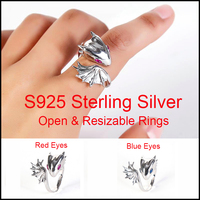 Unisex Personality Exaggerated 925 Sterling Silver Rhinestone Eyes Dragon Rings Open Resizable Ring Gift for Women Men
