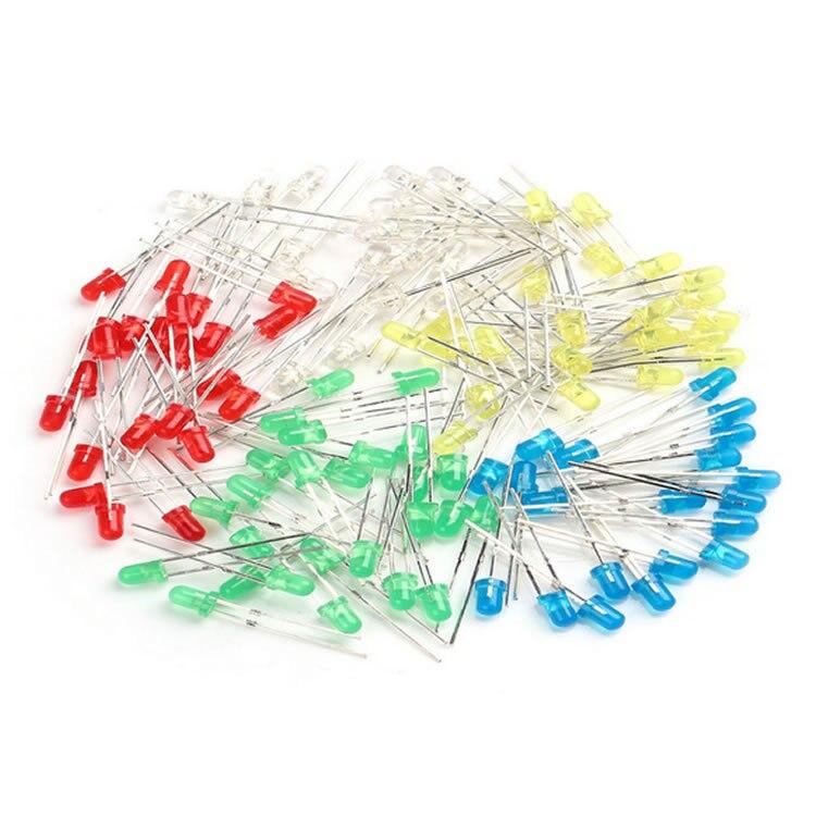 100Pcs/Lot 3mm LED Light White Yellow Red Green Blue Assorted Kit DIY LEDs Set Electronic Diy Kit