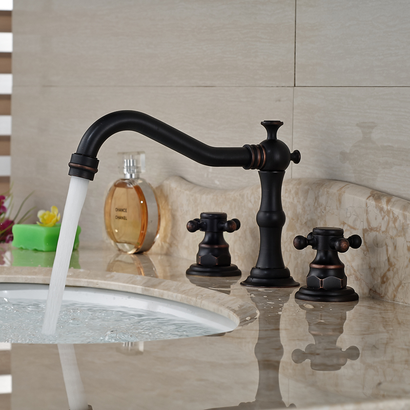 Deck Mount 3pcs Widespread Bath Basin Sink Faucet Dual Handles Brass Mixer Taps Oil Rubbed Bronze Finish