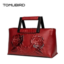 TOMUBIRD 2017 New women bag genuine leather brands high quality cowhide stereoscopic flowers embossing fashion women handbags