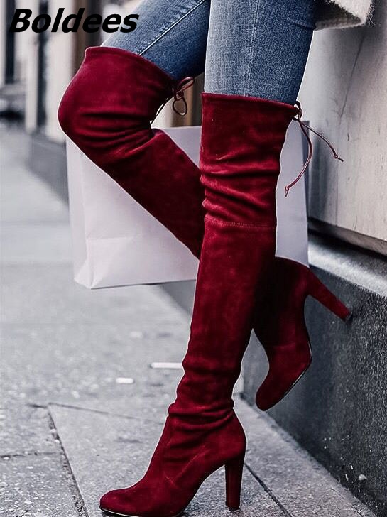 Chic Women Warm Velvet Block Heel Thigh High Boots Sexy Burgundy Round Toe Slip-on Lace Up Chunky HeelOver Knee Boots HotSellingChic Women Warm Velvet Block Heel Thigh High Boots Sexy Burgundy Round Toe Slip-on Lace Up Chunky HeelOver Knee Boots HotSelling