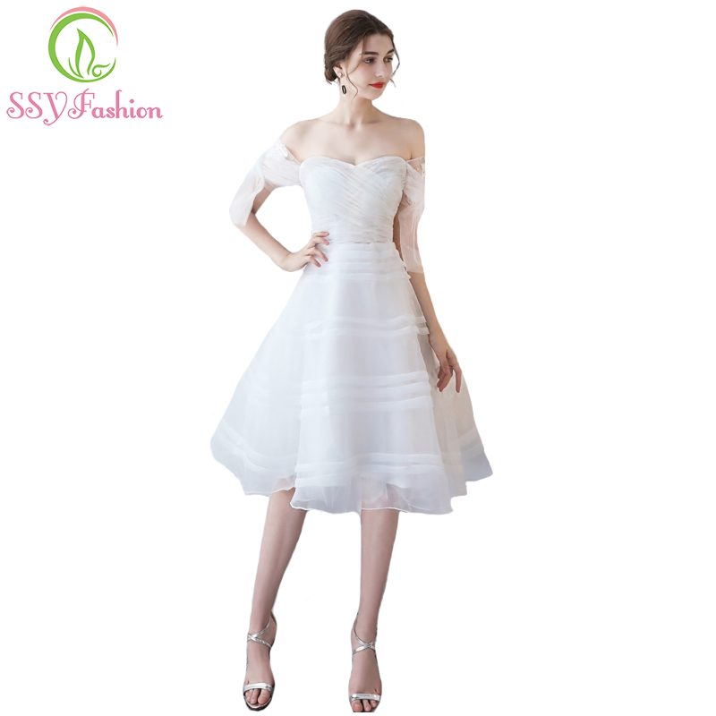 SSYFashion Simple White Tulle Short Bridesmaid Dresse The Bride Banquet Elegant A-line Knee-length Party Formal Gown Custom Made