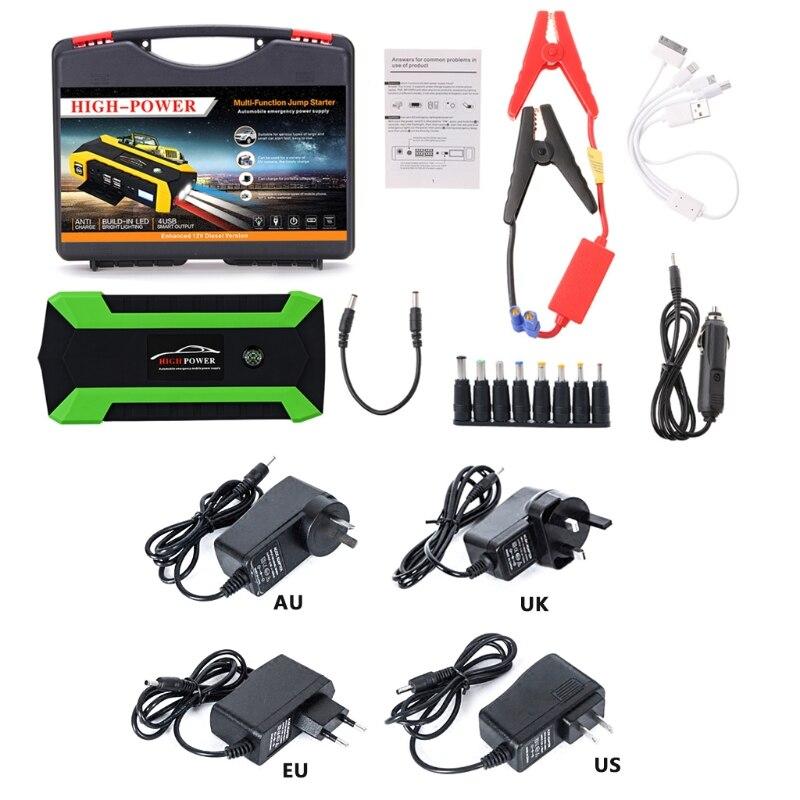 цена на 89800mAh 4 USB Portable Car Jump Starter Pack Booster Charger Battery Power Bank