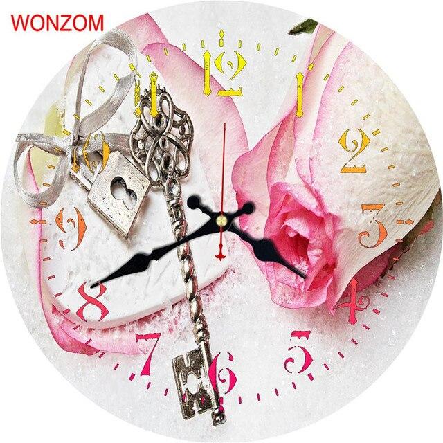 WONZOM Pink Rose Modern Large Flower Wall Clock Silent Living Room ...