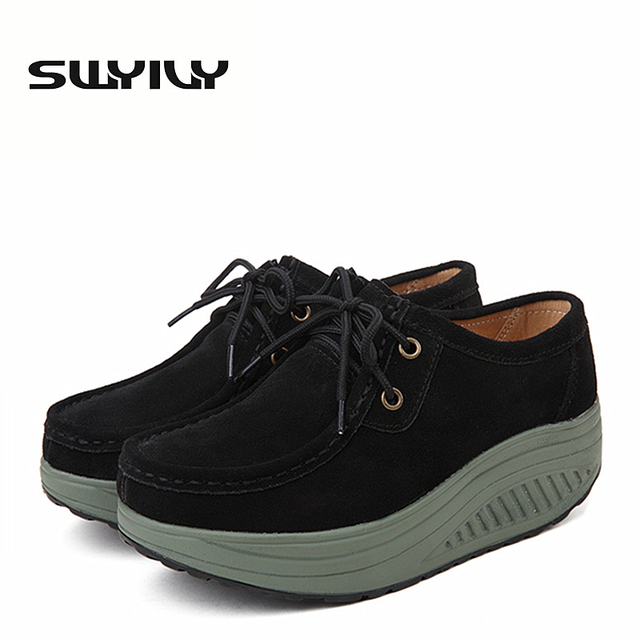 43eaefb6d430e8 SWYIVY Genuine Leather Women Toning Shoes Thick Soles 5.5CM Height  Increasing Loss Weight Swing Shoes Platform Wedge Sneakers