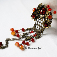 Red Agate Beads Small Hair Combs Vintage Antique Copper Tassel Hair Combs Cos Hanfu Accessory Hair