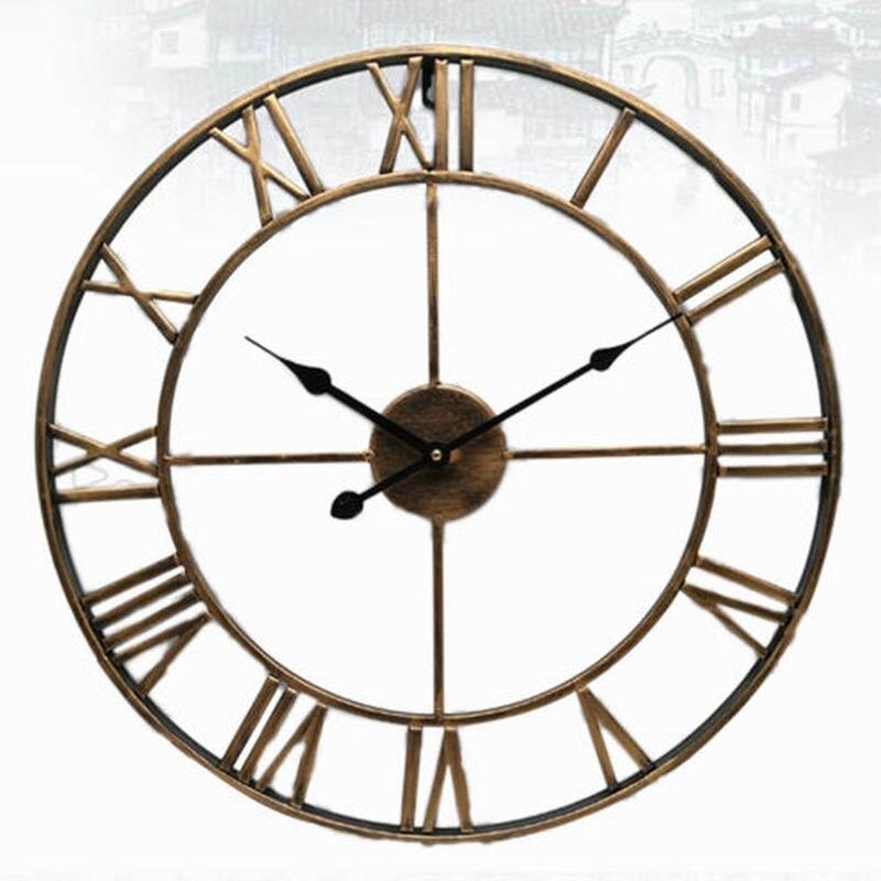 Nordic Roman Numeral Metal Wall Clocks Retro Hollow Iron Round Art Black Gold Large Outdoor Garden Clock Home Decoration 40/47CM