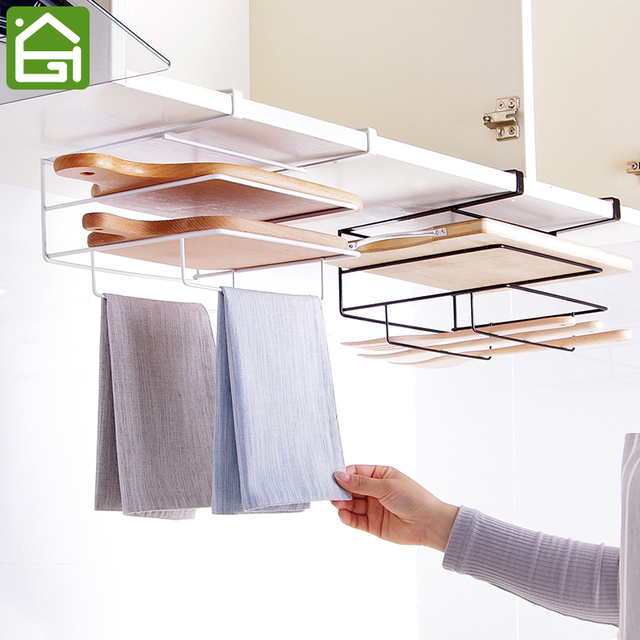 Kitchen Cupboard Cutting Board Hanging Holder With Towel Hanger 3 Shelf  Pantry And Cabinet Door Draining