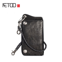 AETOO Mobile wallet Male multifunctional cowhide long money clip retro leather men's card bag wallet all in one bag