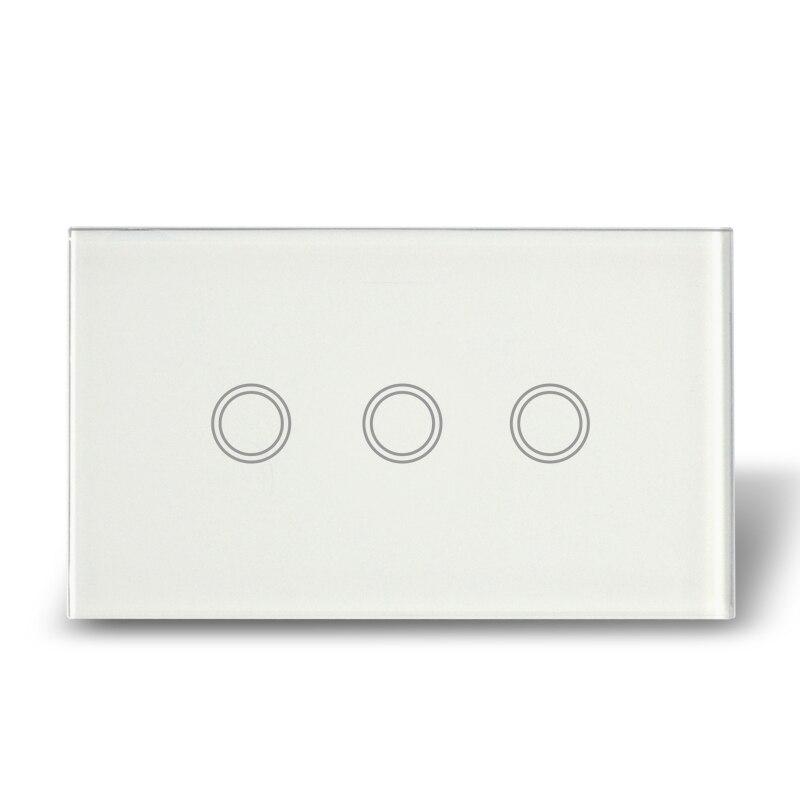 Free Shipping, wholesale 5 pcs/lot, US Type Touch Control Light Switch 3 Gang, AC110-240V  20pcs lot 3pin 2a 125v g70 mini light touch switch for mouse switch free shipping