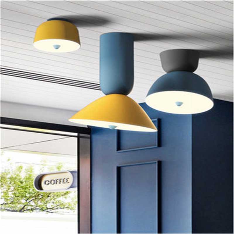 Işıklar ve Aydınlatma'ten Tavan Işıkları'de Iskandinav renkli dondurma konileri tavan lambası sanat tasarım Macarons restoran mutfak yatak odası fırın LED tavan ışık title=