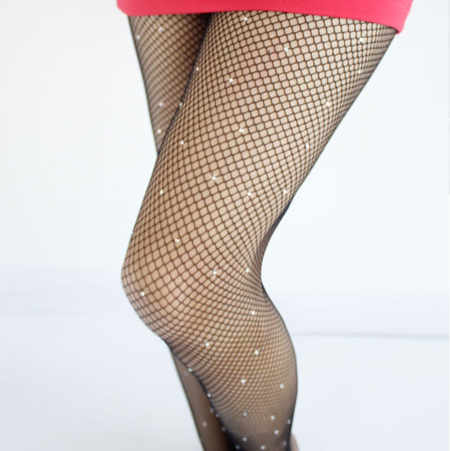 Sexy Women Pantyhose Shiny fishnetstocking High Quality Hollow mesh Diamonds plaid Tights Sparkle Rhinestone stockings