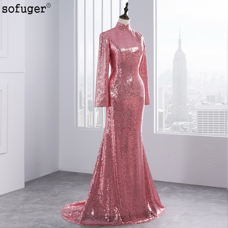 2018 Amazing Top Fashion Mermaid Evening Dresses Sexy Backless Long Sleeves  Rose Gold Sequined High Neck ... 9d5806f501ab