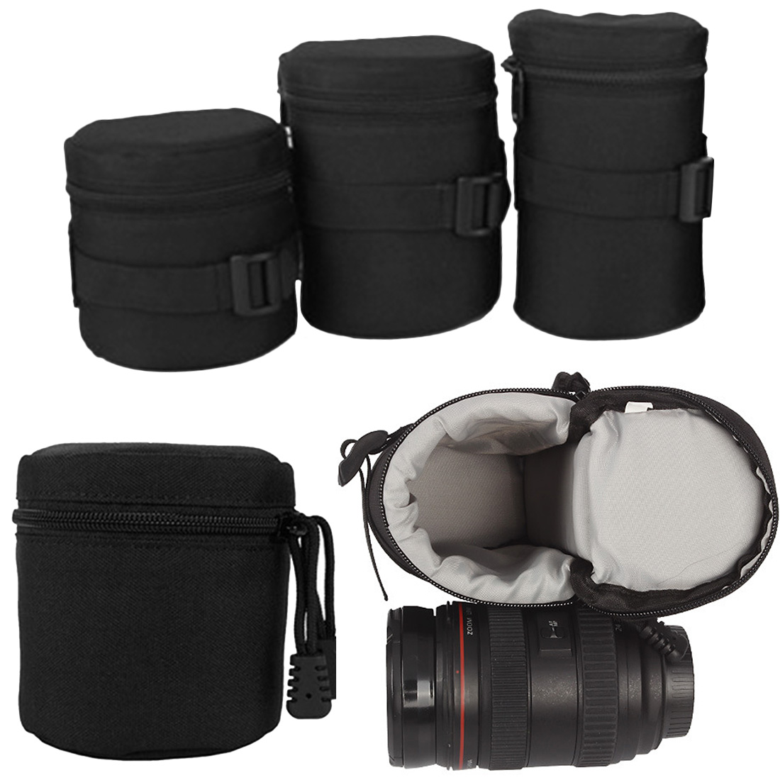 For DSLR Nikon Canon Sony Lenses High Quality Black Waterproof Padded Protector Camera Lens Bag Case Pouch Size S M L image